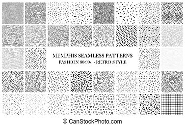Bundle of Memphis seamless patterns. Fashion 80-90s. Black...