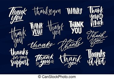 Bundle of modern Thank You inscriptions or gratitude phrases written with various decorative calligraphic fonts. Set of lettering decorated with cute elements. Hand drawn vector illustration.