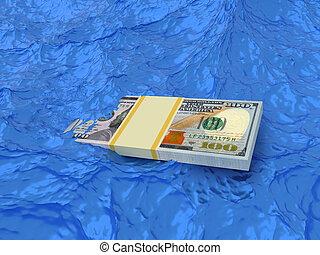 Bundle of money dollars sinks in water. Crisis concept