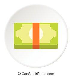 Bundle of money icon, flat style