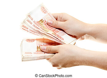 Bundle of money in the hands