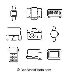 bundle of nine devices electronics set icons