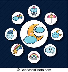 bundle of nine kawaii weather characters around in blue background