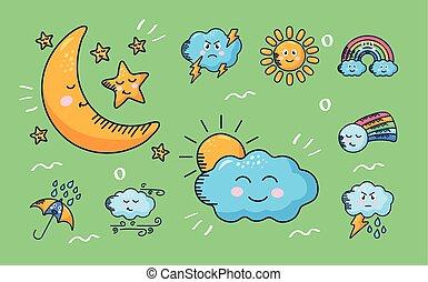 bundle of nine kawaii weather comic characters in green background