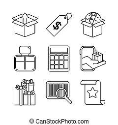 bundle of nine shopping set icons