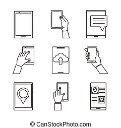 bundle of nine smartphones devices set icons