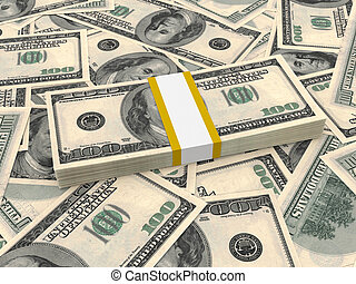Bundle of one hundred dollars bank notes on the background.