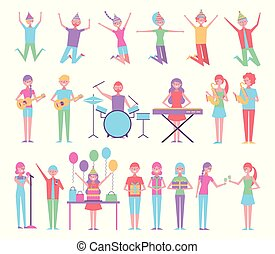 bundle of people celebrating birthday with instruments