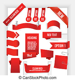 Bundle of Red Web Elements. Corner and Ribbon Collection