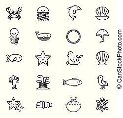 bundle of sea life animals icons