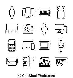 bundle of sixteen devices electronics set icons