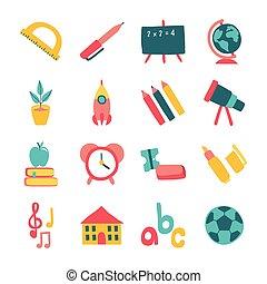 bundle of sixteen school supplies flat style icons