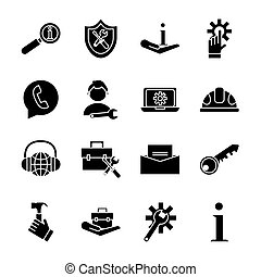 bundle of sixteen technical service set icons