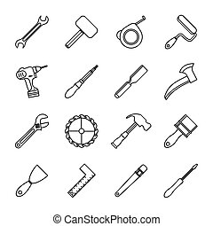 bundle of sixteen tools set collection icons