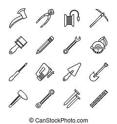 bundle of sixteen tools set icons
