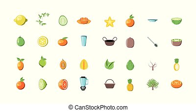 bundle of summer fruits with set icons