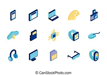 bundle of technology devices icons