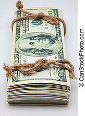 dollar tied with a rope