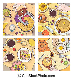 Bundle of top views of served breakfast meals, delicious food, sweet desserts and hands of people eating it. Morning scenes at restaurant or cafe. Colorful hand drawn decorative vector illustration.