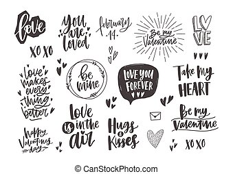 Bundle of trendy monochrome Valentine s day letterings with various phrases, quotes and wishes decorated by hearts hand drawn in black and white colors, design elements. Holiday vector illustration.