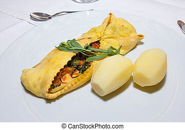 Bundle of Trout with boiled potatoes