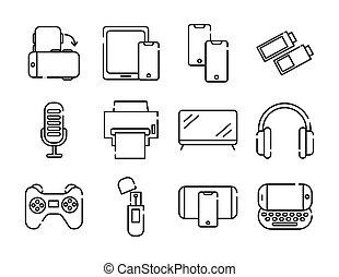bundle of twelve devices electronics set icons