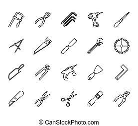 bundle of twenty tools set collection icons