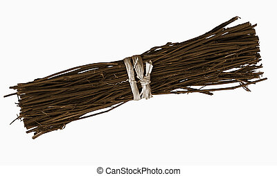 Bundle of twigs, isolated over white - Just twigs - tied