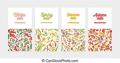 Bundle of vertical banner, promo voucher or coupon templates...