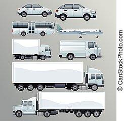 bundle of white transport vehicles set icons