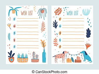 Bundle of wish list templates decorated by potted plants, branches with leaves, pair of cute dogs holding flag garland, present boxes. Set of cards with desired gifts. Flat vector illustration.