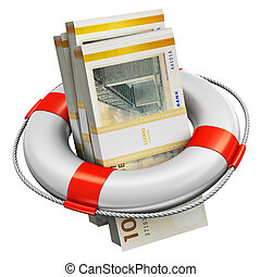 Bundles of 100 Danish krona money banknotes in lifesaver buoy
