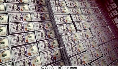 """Bundles of 100 dollar bills in a safe"" - ""A wonderful 3d..."
