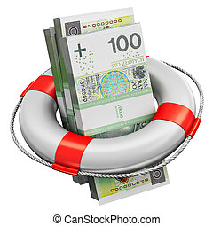 Bundles of 100 Polish zloty money banknotes in lifesaver buoy