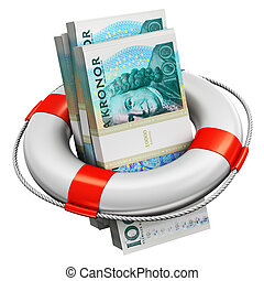 Bundles of 100 Swedish krona money banknotes in lifesaver buoy