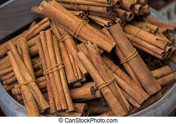 Bundles of Cinnamon sticks in stock
