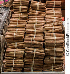Bundles of Cinnamon sticks in stock