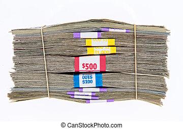 bundles of different denomination dollar bills