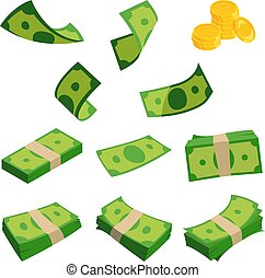 Bundles of dollars isolated on white background. Different set