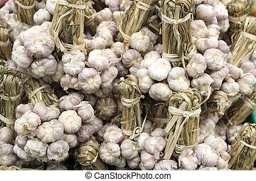 Bundles of fresh white garlic sold in the market