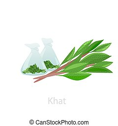 Bundles of khat leaves with raw materials in flasks. The ...