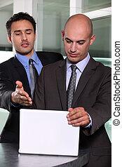 bundsförvanter, diskutera, deras, affärsverksamhet planera