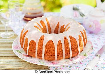 Bundt Cake Topped with Sugar Glaze - Summer Bundt Cake with ...