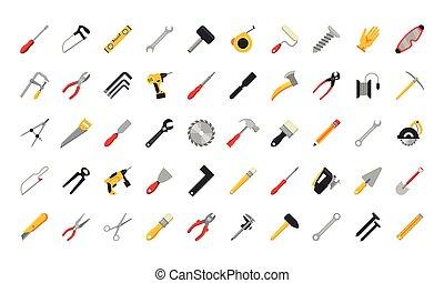 bundt, sæt, iconerne, redskaberne, halvtreds