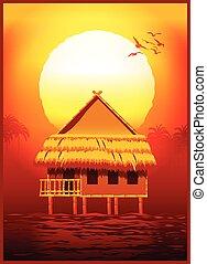 bungalow, à, coucher soleil