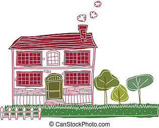 Bungalow Exterior - This illustration is a common cityscape....