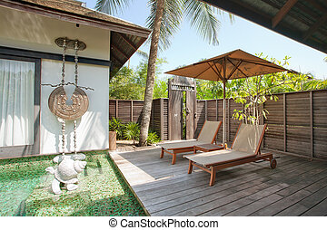 bungalow - fragment like view of nice tropical villa with ...