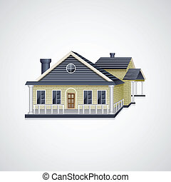 Bungalow House - easy to edit vector illustration of real...