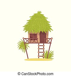 Bungalow, hut in tropical jungle vector Illustration on a white background