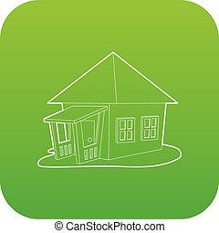 Bungalow icon green vector